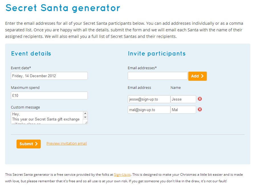 Sign-Up.to Secret Santa screenshot